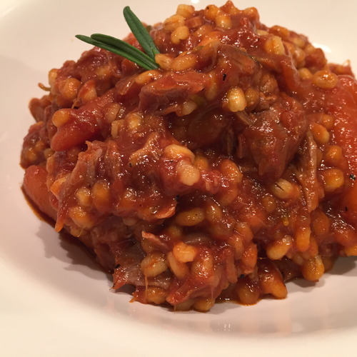 Barley Risotto with Lamb in a Rich Tomato Sauce