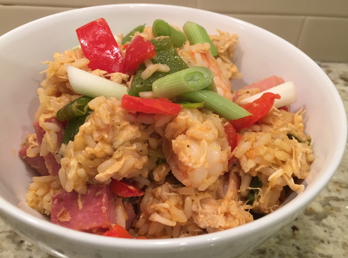 Creole-style Fried Rice w. Chicken, Ham & Shrimp